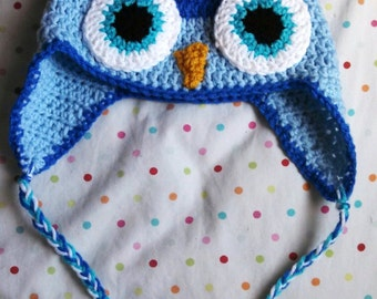 Handmade Crochet Childrens Owl Earflap Hat Blue