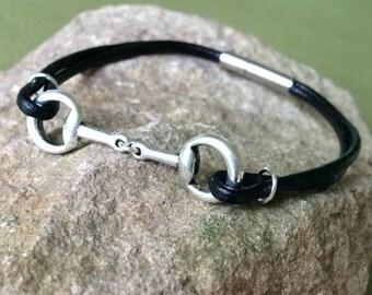 Black Leather Horse Bit Bracelet, Leather Bracelet, Leather Bangle, Snaffle Bit, Black and Silver Bracelet
