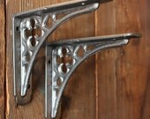 Antique Shelf Brackets - Pair of Small Cast Iron Metal Antique Rustic Industrial Vintage Wall Brackets Pewter Finish ~ Made In Britain ~