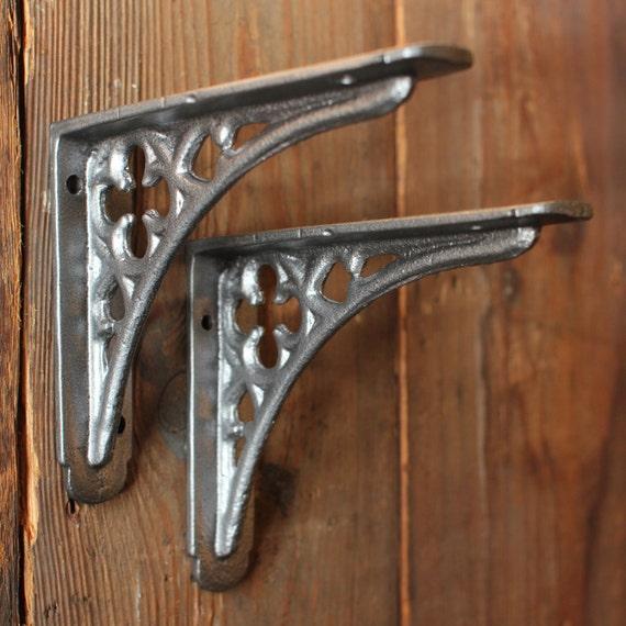 Antique Shelf Brackets Pair of Small Cast Iron by YesterHomeUK