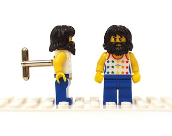 Bearded dude / colourful character cufflinks. Cufflinks made with LEGO(R) bricks.    Cufflink Wedding gift