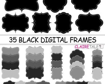 """Digital clipart labels: """"BLACK DIGITAL FRAMES"""" clipart frames, labels, tags in black for scrapbooking, cards, invitation, stationary, albums"""