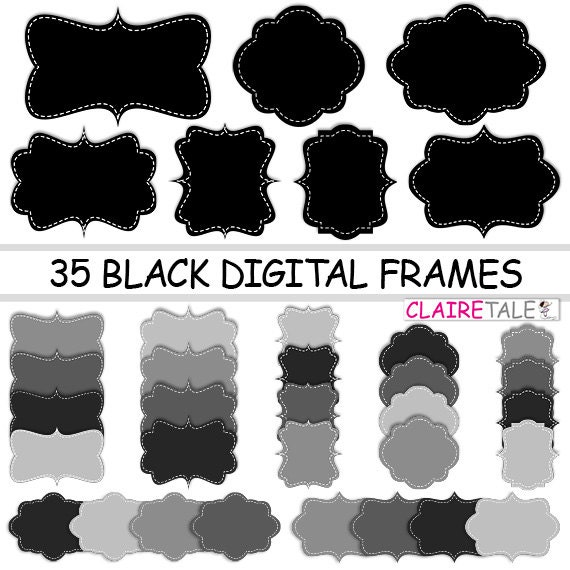 "Digital clipart labels: ""BLACK DIGITAL FRAMES"" clipart frames, labels, tags in black for scrapbooking, cards, invitation, stationary, albums"