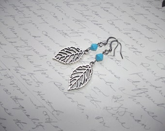 Silver leaf earrings with turquoise