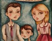 Family Portrait - Personalized Portrait, Custom Artwork, Wedding Gift, Anniversary Gift