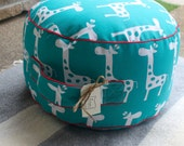 The Original Pouf Floor Cushion - Gisella True Turquoise+Red Piping