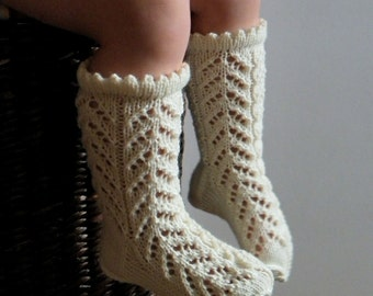 White knitted baby lace socks handmade kids merino socks white Baptism socks Made to Order