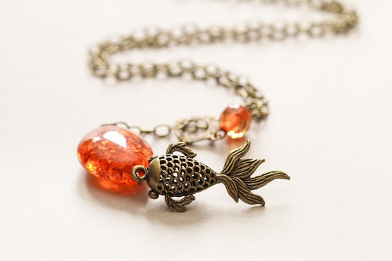 Beaded koi necklace with resin amber beads and antique brass for Koi fish beads