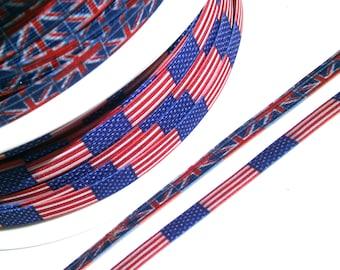 "1m printed elastic trim ""Stars & Stripes"" 7 mm w."