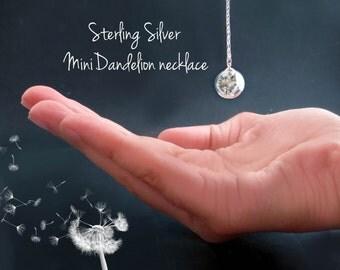 Sterling mini dandelion necklace: wish, bridal gift, bridesmaid sterling silver 925 choker