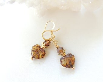 Fall Leaf Earrings, Czech Glass Leaf Earrings, Fall Accessories, Autumn Jewelry, Seasonal Jewelry, Dangle Earrings, Gift Idea.  #213