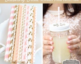 Blush, Gold, Light Pink, Peach, Paper Straws, Multipack BLUSHING BRIDE, Wedding, Damask, Dots, Vintage, 25 Straws, Stripes, Shower, Party