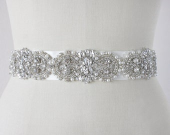 ADALINE - Vintage Inspired Crystals And Pearls Bridal Sash, Rhinestone Bridal Belt, Wedding Beaded Sash, Wedding Belts