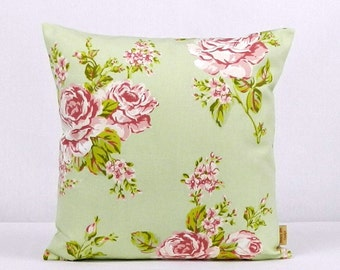 16x16, pillow, throw pillow cover, Decorative Throw pillow,  English Rose, Sage Green, pillow case, Floral pillow case, 16 inch, handmade