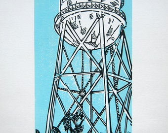 Alcatraz water tower - water tower linocut print, San Francisco print, iconic building art