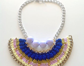 Statement crochet bib chain necklace - Blueberry