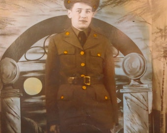 Hand Tinted World War II Era 1940's American US Army Soldier GI Studio Photo - Free Shipping