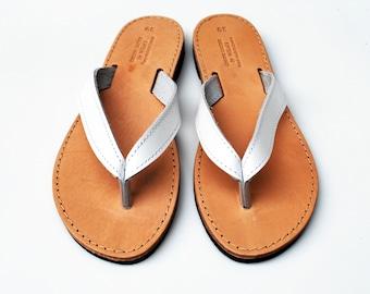 White flip flops, greek handmade women's sandals