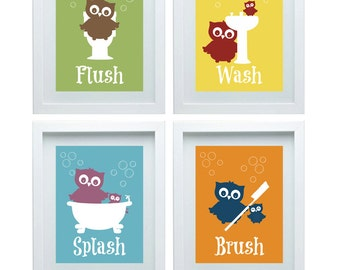 Bathroom Rules Art Kids Bathroom Decor Owl wall Decor set of 4-8X10 Kids Bathroom Wall Art Choose Your Color Home Decor Owl Christmas Gift