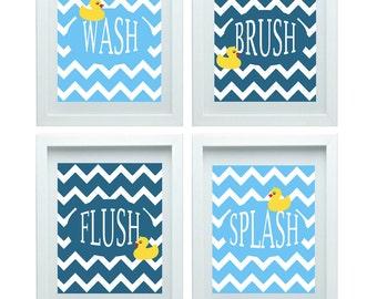 Chevron Bathroom Wall Art Bathroom Rules Kids Bathroom Decor Rubber Duck Bathroom Decor Set Of 4