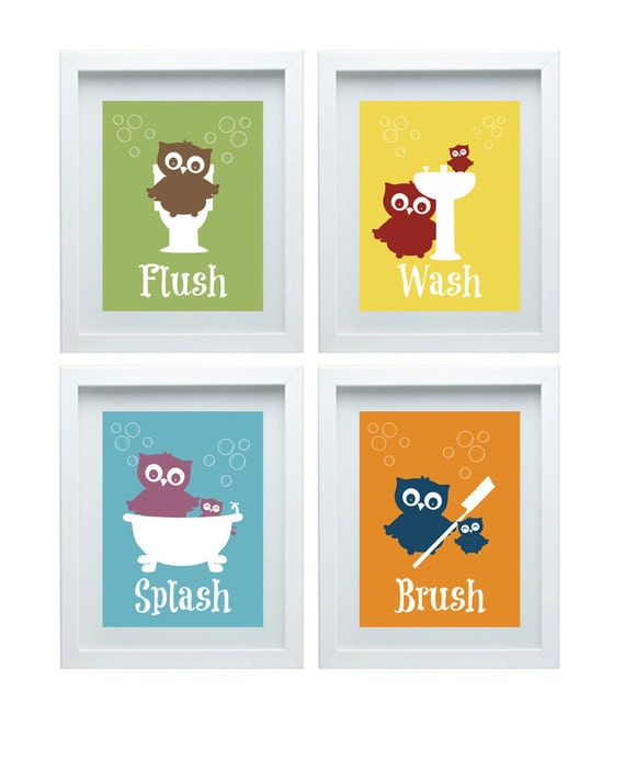 Bathroom Rules Art Kids Decor Owl Wall Set Of