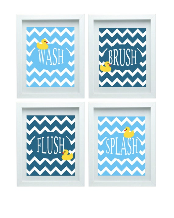 Chevron bathroom wall art bathroom rules kids bathroom decor for Bathroom decor etsy
