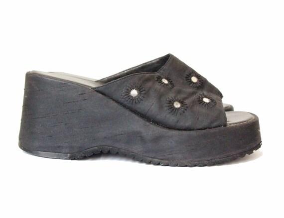 90s platform sandals black cyber slip on slippers chunky