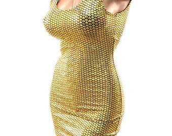 Gold Mermaid Scale  Bodycon Clubwear Dress with Tank Neckline   -E8084