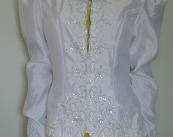 White Blazer Jacket/Bridal Blazer/ Wedding Blazer Jacket Coat Beaded Deco Sequin Encrusted/ S