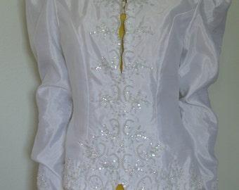 White Blazer Jacket/Bridal Blazer/ Wedding Blazer Jacket Coat Beaded Deco Sequin Encrusted/ S