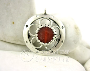 Silver Circle Pendant with Burnt Orange Jade, Orange Gemstone Pendant, Antique Silver Plated Bezel Set Turkish Jewelry