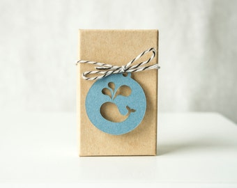 Circle Tag with Whale Cut Out- Gift Tag-  Favor Tag (30 tags)
