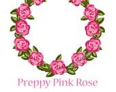 Preppy Pink Rose Frame - Original art download, pink rose art, pink rose frame, preppy art