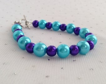 Turquoise and Purple Pearl Bracelet, Turquoise Bracelet, Turquoise and Purple Wedding, Glass Pearl Bracelet, Aqua Blue Bracelet