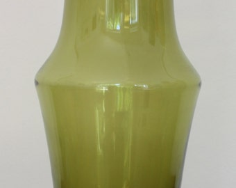 1970s Riihimaen Lasi Oy (Finland) Olive Green Vase