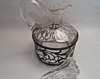 Glass and Sterling Silver Cruet Decanter Meriden Britannia Co. 1800s Homedecor and Housewares