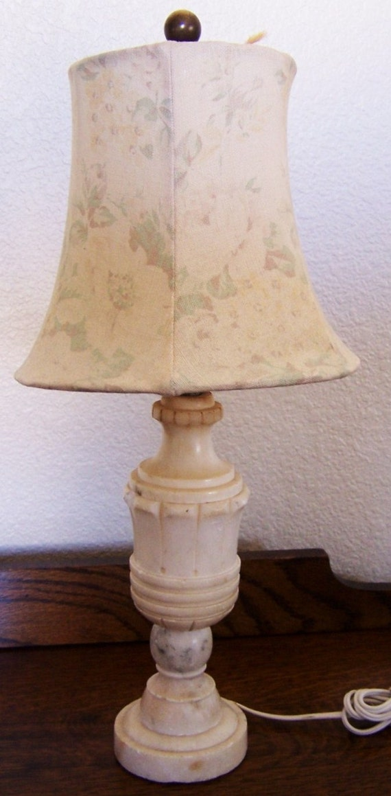 Vintage Small Alabaster Lamp With Shabby Chic Shade