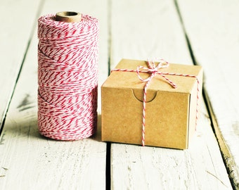 Baker's Twine in Peppermint - 10 Yards - Red Pink White Bakers Packaging Gift Wrapping String Cord Trim Ribbon Pretty Vintage Party Decor