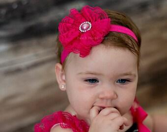 Baby headbands, Hot Pink lace flower headband, baby girl headbands, infant headbands, newborn headbands, hot pink headbands, baby flower
