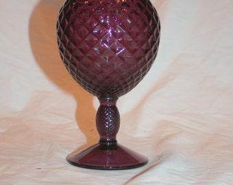 Vintage Amethyst Quilt/Diamond Pattern Pedestal Ball Vase