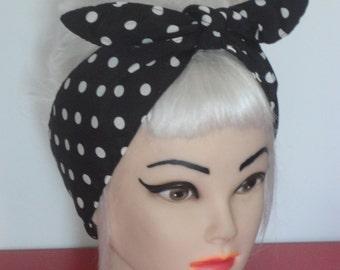 Head Scarf Black and white Polka Dots Headband Pinup Vintage Retro Style 50s Rockabilly
