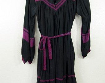 Vintage Black and Purple Beatnik Dress 1960s