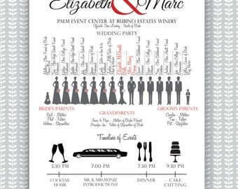 Wedding Ceremony Program - Silhouette Bridal Party w. Timeline