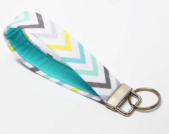 Fabric Key Chain, Handmade Key Fob, Wristlet Strap - Ombre Blue Chevron