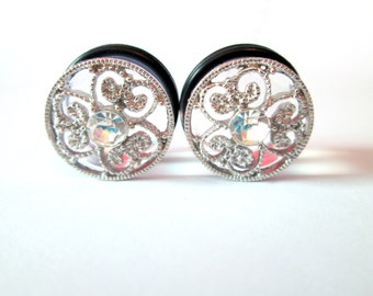 Silver Filigree Clover Sparkle Rhinestone Plugs - Available in 9/16 in, 5/8 in
