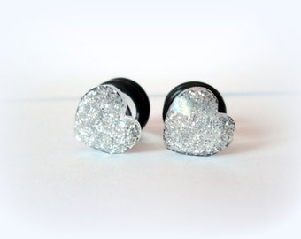 Clearance Sale - Clear Silver Sparkle Faceted Heart Plugs - Available in 4g, 2g, and 0g