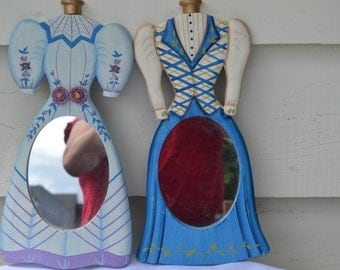 Sale:  2 Hand Painted Victorian Dress Mirrors