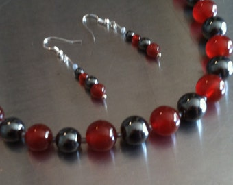 Carnelian, Hematite, Glass Seed, & Sterling Silver Beads Necklace and French Hook Earring Set