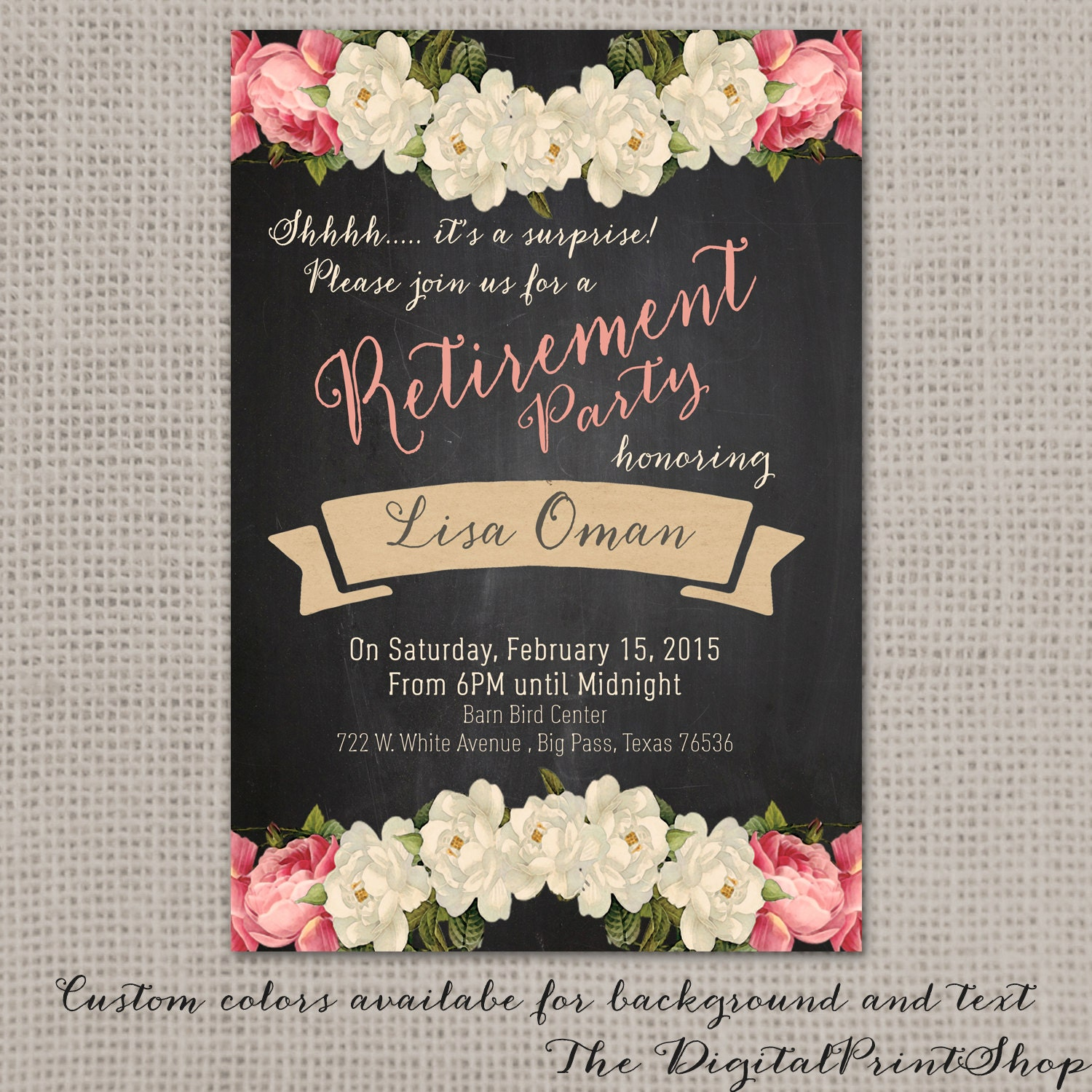 Surprise Retirement invitation party invite rustic chalkboard – Surprise Retirement Party Invitation