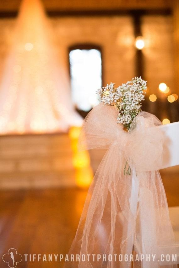 6 handmade tulle bows for wedding aisle decorations bridal - Bow decorations for weddings ...